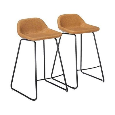 """Cortesi Home Ava Counterstools in Saddle Brown faux Leather, 25"""" High 141[並"""