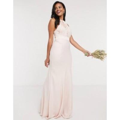 エイソス レディース ワンピース トップス ASOS DESIGN Bridesmaid halter pleated maxi dress with paneled skirt Blush