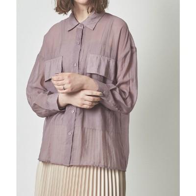 ティティベイト titivate ビッグポケットシアーワークシャツ (グレイッシュパープル)