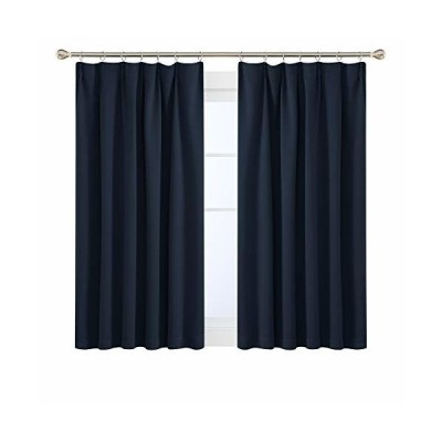 Deconovo 1級遮光カーテン 断熱 UVカット 遮熱 節電対策 昼夜目隠し 2枚組 幅100cm丈110cm 紺色