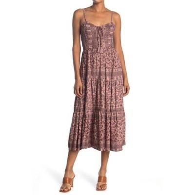 アンジー レディース ワンピース トップス Tie Back Patterned Tiered Dress  ROSEHIP