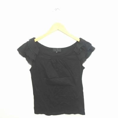 【中古】アンタイトル UNTITLED カットソー Tシャツ ボートネック シフォン チュール 半袖 2 黒 ブラック /TT23 レディース 【ベクトル 古着】