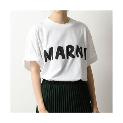 (MARNI/マルニ)【MARNI(マルニ)】THJET49EPC SCQ65 クルーネック オーバーサイズ 半袖 Tシャツ カットソー ロゴT LOW01/LILY-WHITE レ/レディース WHITE
