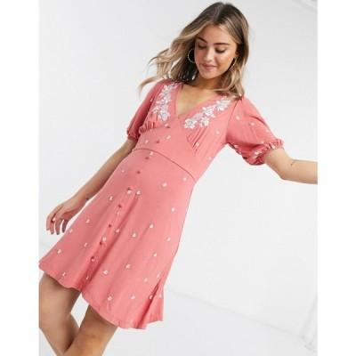エイソス ASOS DESIGN レディース ワンピース ミニ丈 ワンピース・ドレス mini tea dress with flower embroidery in rose ローズ