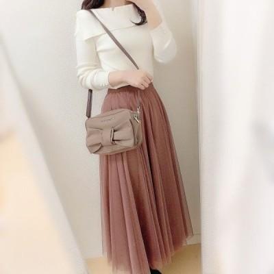チュール スカート シフォン ミモレ丈 フェミニン 可愛い 4色