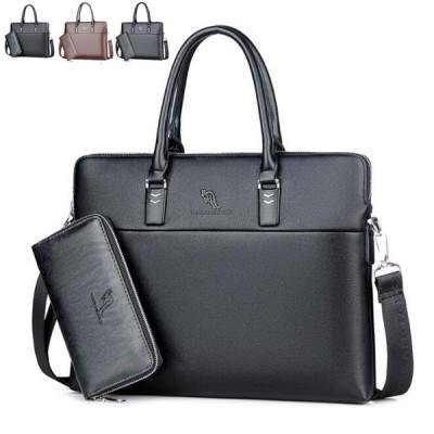 ショルダー ビジネスバッグ フォーマル 長財布贈り 2点セット ブリーフケース 高級 トート 革鞄 メンズ 通勤2WAYボディ
