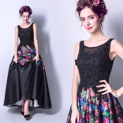 【ANGEL】花柄肌透けチュールレースビーズ刺繍ノースリーブ背中編上げAラインロングドレス【送料無料】高品質 ブラック 黒 ロングドレス