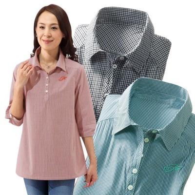 綿100% チェック柄半開シャツ 3色組 レディース チェック柄 7分袖 春夏 50代 60代 960433