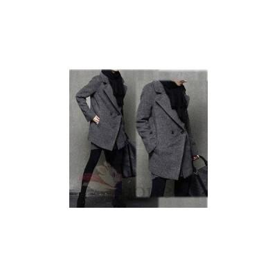 レディース 秋冬ジャケットコート ウールジャケット 長袖 ブラック グレー ゆったり