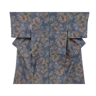 宗sou 花鳥模様織り出し手織り紬着物【リサイクル】【着】