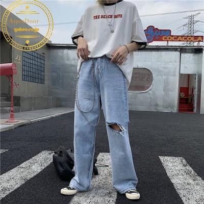 原宿系 デニムパンツ ワイドパンツ ダメージ加工 レディース 韓国ファッション パンツ ハイウエスト ストレートボトムス ヒップホップ ダンス衣装 ストリート風