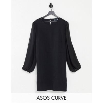 エイソス レディース ワンピース トップス ASOS DESIGN Curve mini dress with sheer long sleeves in black