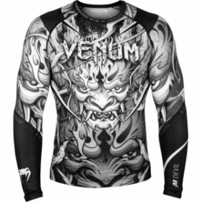 ファッション トップス Venum Devil Long Sleeve MMA Compression Rashguard - White/Black