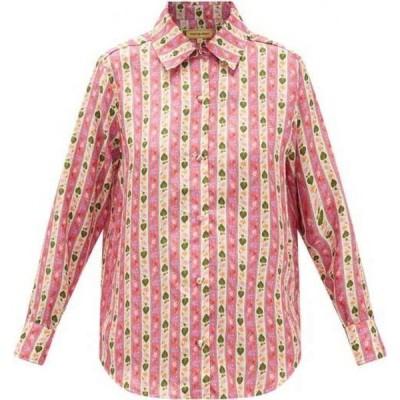 ムズング シスター Muzungu Sisters レディース ブラウス・シャツ トップス Fern botanical-print silk-faille blouse Pink