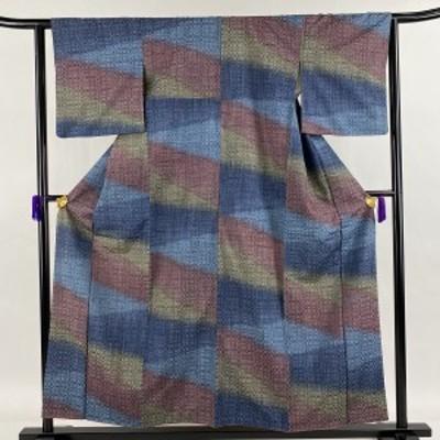 紬 美品 秀品 格子 幾何学 藍色 袷 身丈155.5cm 裄丈62.5cm S 正絹 中古