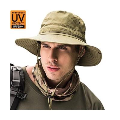 サファリハット メンズ【UVカット UPF50+ 通気性抜群】日よけ帽子 つば広 大きいサイズ 速乾・軽薄・通気性抜群
