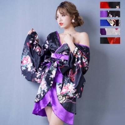 花魁 コスプレ 着物ドレス 花魁 コスプレ 浴衣 祭り ダンス衣装 よさこい衣装 送料無料 バイカラー孔雀和柄着物ドレス