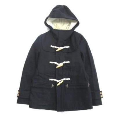 【中古】タケオキクチ TAKEO KIKUCHI ウール ダッフル コート ジャケット ブルゾン フード トグルボタン 2 ネイビー