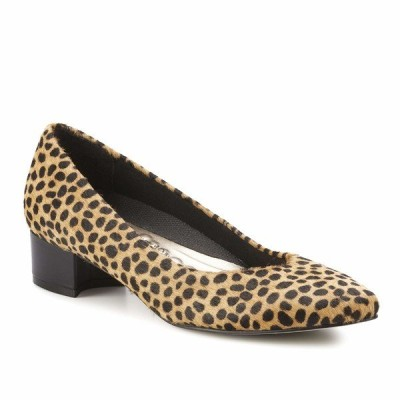 ウォーキング クレイドル ヒール シューズ レディース Heidi Tan Mini Cheetah Haircalf/Black Leather