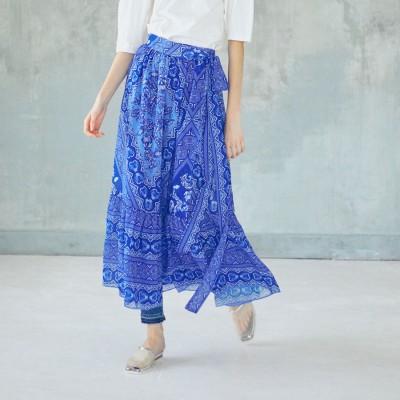アウラアイラ AULA AILA バティックプリント ティアードスカート (ブルー)