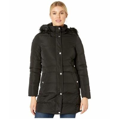 トミー ヒルフィガー コート アウター レディース Mid Length Hooded Puffer Jacket with Faux Fur trimmed Hood Black