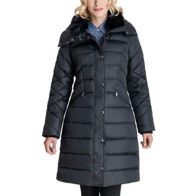 ロンドンフォグ コート アウター レディース Faux-Fur Collar Hooded Puffer Coat Black