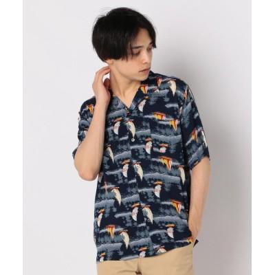 (GLOSTER/グロスター)ヨット柄アロハ オープンカラーシャツ/メンズ ネイビー系5