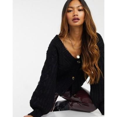 アックスパリ レディース カーディガン アウター AX Paris cable knit cardigan in black