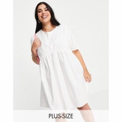コルージョン Collusion レディース ワンピース ミニ丈 ワンピース・ドレス Plus Exclusive Colour Tie Back Mini Smock Dress In White