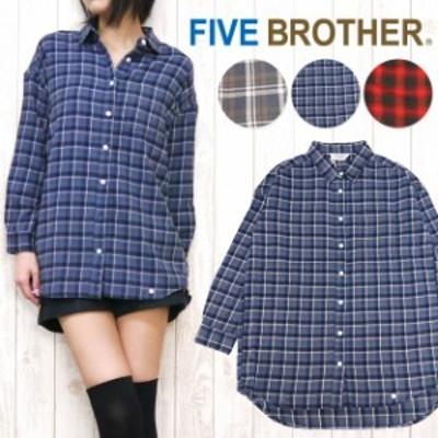 ファイブブラザー FIVE BROTHER レディース シャツ 長袖 オーバーサイズ ボーイフレンド ダーリンシャツ fb1515099