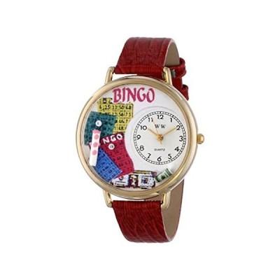 【新品・送料無料】ビンゴ 赤レザーバンド ゴールドフレーム腕時計 #G0430007