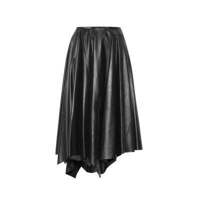 マルニ Marni レディース ひざ丈スカート スカート Leather midi skirt Night Blue