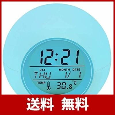 Lypumso 目覚まし時計 アラーム デジタル LED7色バックライト スヌーズ機能付き 大音量 カレンダー付 気温表示 日本語説明書 設定簡単