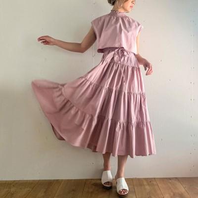 アムールボックス AMOUR BOX セットアップ風フレンチスリーブティアードワンピース/ふんわり コットン フリル ウエストマーク 春 夏 体型カバー エアリー フェミニン 韓国 韓国ファッション