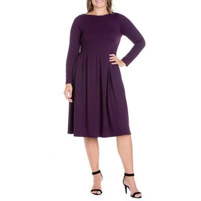 24セブンコンフォート レディース ワンピース トップス Plus Size Long Sleeve Fit and Flare Midi Dress