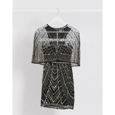 エイソス レディース ワンピース トップス ASOS DESIGN embellished cape mini dress Black and gold