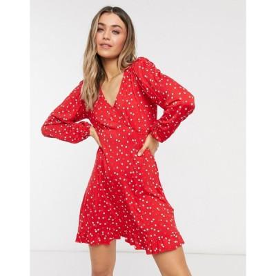 ニュールック ミニドレス レディース New Look jersey tea dress in red ditsy floral エイソス ASOS レッド 赤