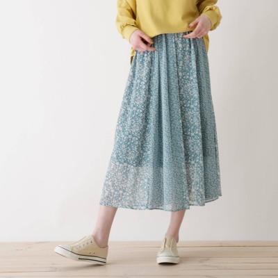 キューティーブロンド Cutie Blonde 【S-L】花柄切り替えスカート (ブルー)