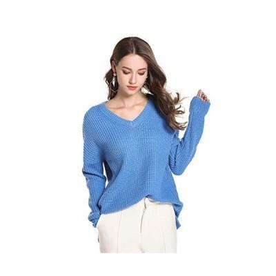 並行輸入品HUILAN レディース Vネック 無地 ニット プルオーバー ジャンパー セーター US サイズ: X-Large カラー: ブルー