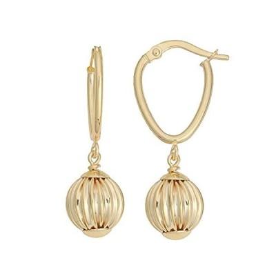 【新品】Kooljewelry 10K イエローゴールド テクスチャ ボール ドロップ イヤリング