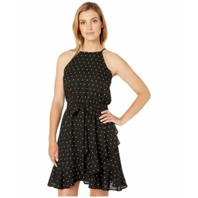 カレンケーン レディース ワンピース トップス Ruffled Faux Wrap Dress Black