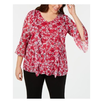レディース 衣類 トップス ALFANI Womens Pink Floral Bell Sleeve V Neck Blouse Top Plus Size: 0X ブラウス&シャツ