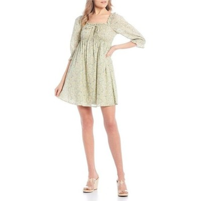 シティヴァイブ レディース ワンピース トップス 3/4 Puff Sleeve Ditsy Floral Dress