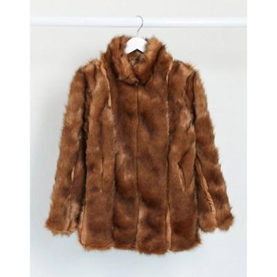 ミスガイデッド レディース コート アウター Missguided paneled faux fur coat in brown