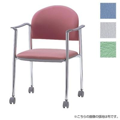 『代引不可』サンケイ ミーティングチェア 会議椅子 4本脚 キャスター付 クロームメッキ 肘付 ビニールレザー張り CM219-CXC