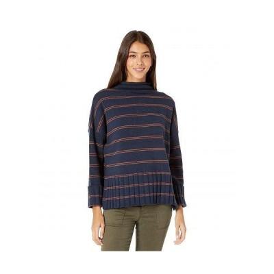 Madewell レディース 女性用 ファッション セーター Lauren Ribbed Mock Neck in Stripe - Deep Navy