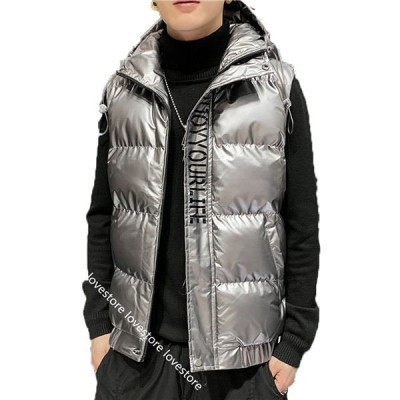 男性 ダウンベスト 中綿入れベスト ?量 ポリエステル 秋冬 ジレー 袖なし 中綿ジャケット セミロング フードなし vネック 薄手 冬物