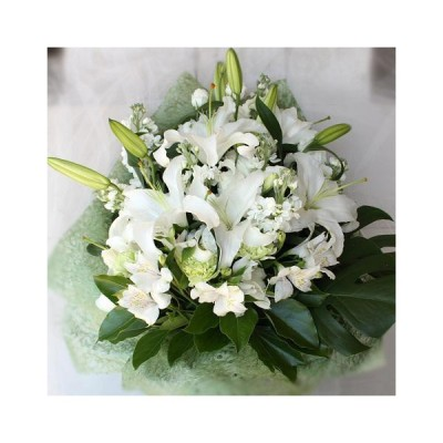 お供え 花 法事 お供え物 命日 一周忌 お供え花 お彼岸 お悔やみ 大輪の純白ユリの花束