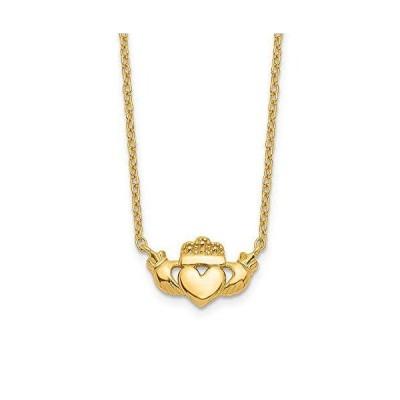 "Solid 14k Yellow Gold Celtic Irish Claddagh Pendant Necklace Charm Chain 17"" (Width = 1mm) 並行輸入品"