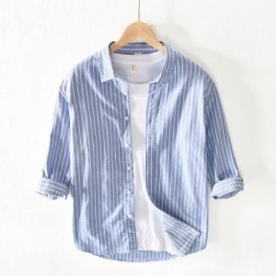 シャツ 長袖シャツ メンズ ストライプ柄シャツ カジュアルシャツ 純綿シャツ 開襟シャツ 修身 春夏 新作 ゆったり メンズシャツ トップス